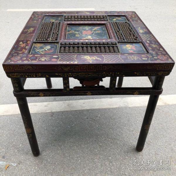 旧藏木胎漆器童子图长四条腿四方形算盘桌,宽91厘米,高84厘米,