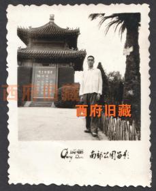 """文革特色老照片,成都南郊公园留念照,少见毛语录""""中国医药学十一个伟大的宝库,应当努力发掘,加以提高"""",中医题材老照片。"""