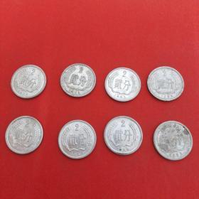 8枚合售(76年,78年,82年,84年,85年,87-89年,2分硬币)见图 38号