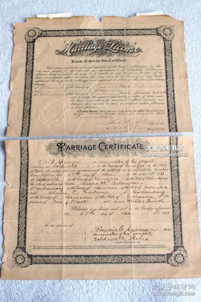 1911年外国结婚证书一张,42X29厘米。品相一般,仅标一品。处理