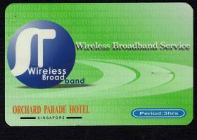 [BG-C3]新加坡酒店早期宽带上网预付费卡/有订书机针孔估计与酒店帐单订在一起,8.3X5.4厘米。