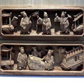 江西清代精品木雕花板一对,福禄寿三星及高士对弈图。