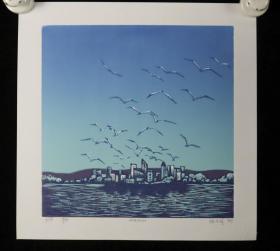 著名画家、鸡西市美协会员 陈万润 版画作品《牺》一幅(版次:3/100,尺寸:24*23cm)HXTX218589