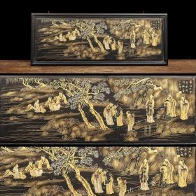 旧藏 香山九老描金漆画 【规格】宽119cm 高46cm 厚2cm 此件为香山九老描金漆画,品相完整,形制规整,画工细腻,采用描金工艺,整件以细致入微的技法生动的将人物表情、神态表现得淋漓尽致。此件历经岁月沧桑,品相完整,画工精美,包浆浑厚,大小适中,实乃收藏之珍品,挂于书房茶室,文人雅意不彰自显,值得入手!