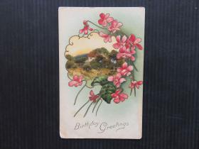 欧美风-手账复古集邮收藏彩色外国邮政明信片-祝愿花卉卡