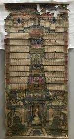 老木版年画 木板年画 【家堂】一张 尺寸:58*120CM 有破损 有褶皱  品相年代请自鉴 二手物品售出不退