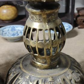 日本回流佛堂大蜡台,老铜器一对,大摆件。尺寸看图,总重量:1683克。