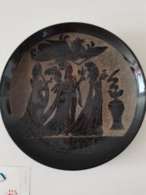 瓷器收藏~~~~~~~~敦煌壁画刻瓷盘【巨大 直径41厘米刻瓷盘】