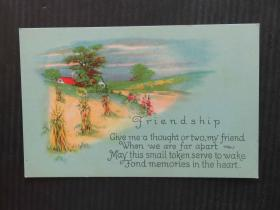 古典邮便-早期复古手账收藏集邮彩色外国邮政空白明信片