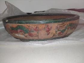 清代绿釉老花盆大型47厘米,仅一处小磕。包老保真