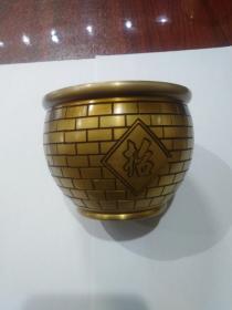 全铜招财进宝聚财缸,尺寸10cmx7.5cm,重447克