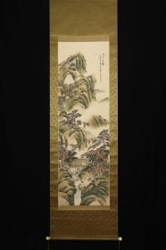回流字画 回流书画 《鸣琴召鹤》青绿山水 作者:手岛石泉(1852~1947)日本南画家。名正谊。绘画初学三好蓝石,后与田能村竹村交好。日本回流字画 日本回流书画