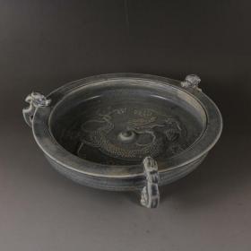 越窑秘色瓷三足龙纹盘