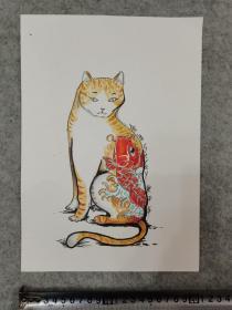 卡纸彩铅笔画 猫咪 原稿手绘真迹