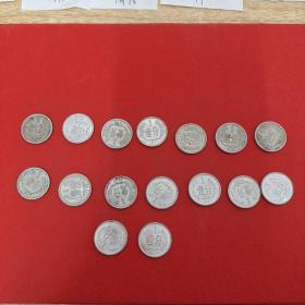 16枚合售(64年,71年,75年,77年一80年,82年,85-87年,91年,2005/2006年,2012一2013年,2分硬币)见图 3号