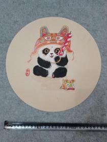 卡纸彩铅画 大熊猫 原稿手绘真迹