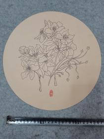圆卡纸 彩铅笔画 花卉 原稿手绘真迹