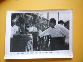 毛泽东老照片《毛泽东检阅北京、济南部队的军训后,也试一试自己拳头的力量.1964年》【文革后期的宣传张贴照片】【20×15】
