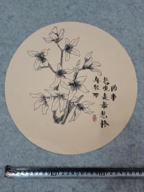 圆形 卡纸彩铅笔画 花卉 手绘原稿真迹