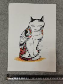 卡纸彩铅笔画 猫 原稿手绘真迹