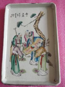 民国名家刘荣盛作洋料彩:香山五老图方盘(收于民间,真假自鉴)