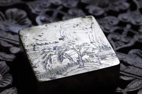 民国白铜刻铜溪山行旅图人物墨盒