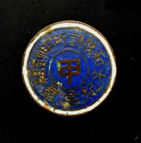 民国时期:安徽省太和县训所甲训组铜证章,珐琅好品