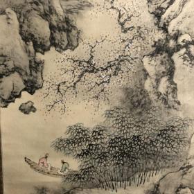 品相极佳!日本近代画家后藤秋崖作品山水图,木质工艺轴头,绫裱原装画家自题木箱,画心130*29,注定要引起人们注意的一个画家,山的画法有陈洪绶味道