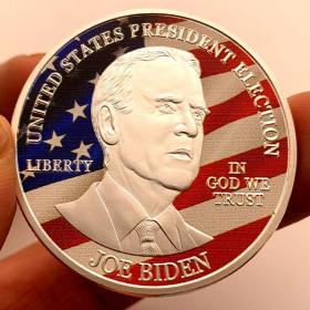 2020美国总统大选拜登镀银纪念章 彩绘金币硬币风云人物纪念币