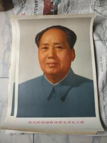 文革时期油画印制毛主席标准像宣传画十张。四开