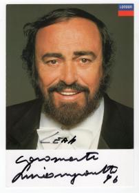 """""""世界三大男高音之一""""帕瓦罗蒂(Luciano Pavarotti)亲笔签名官方照 PSA鉴定"""