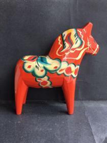 60/70年代芬兰全手工制作彩绘工艺木马、马到成功