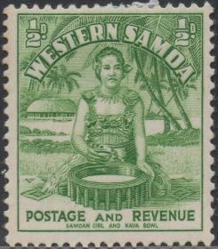 英联邦邮票E,西萨摩亚1940年民俗风情,萨摩亚女孩 服饰食品椰树