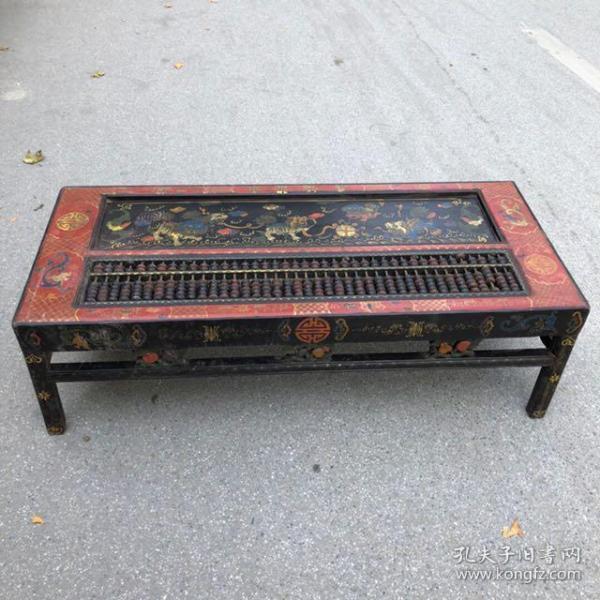 旧藏木胎漆器狮子滚绣球图案长方案桌算盘,长130厘米,宽56厘米,高40厘米