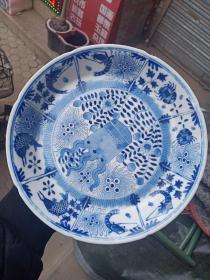 清代瓷盘子,大开门的老物件,画工精湛娴熟,难得的精品瓷盘国画,品相如图,价格小高,售出不退。永远保真。