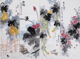 【自写自销】当代艺术家协会副主席王丞手绘! 花鸟四条屏2102