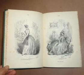 1892年CHARLES DICKENS :Dombey & Son _ 狄更斯《董贝父子》全插图本古董书 绿色布面精装 品相上佳