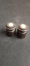日本回流字画精致木质镶骨轴头一对D3900