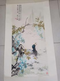 已故著名画家汪慎生花鸟画一幅4平尺