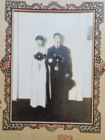 民国全品结婚照,有签名,带原装卡纸,保存全品,极其难得
