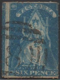 英联邦邮票E,英属澳大利亚维多利亚州1858年女王登基,6p蓝色