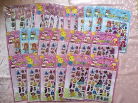 动漫 卡通贴纸 泡泡棉贴纸 迪士尼公主(12张)卡通人鱼(6张)托马斯(2张)恐龙等(共30张)合售