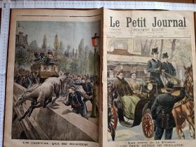 1898年5月1日法国原版画报两幅整版石版画尺寸43厘米×30厘米,展开60厘米×43厘米