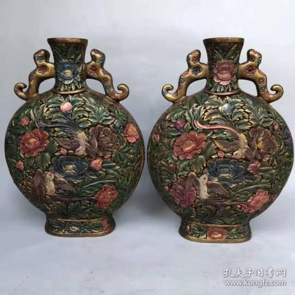 一对老彩绘花鸟漆器花瓶摆件