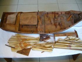 原木雕刻帆船