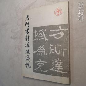 各种书体源流浅说 32开 平装本 北京中国书法研究社 编 人民美术出版社 1985年1版2印 私藏 自然旧 9.5品