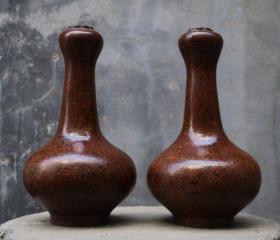 木胎犀皮漆器蒜头瓶一对