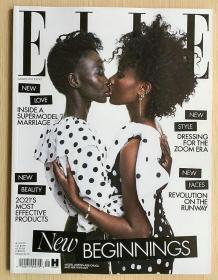 英国版 ELLE 2021年1月 女士时尚服饰潮流服装英文杂志