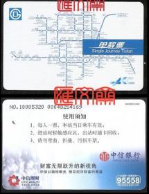早期北京地铁卡式车票,出站即回收,本票属漏网之鱼。北京地铁单程票-当日有效收藏品—北京市各条地铁平面图,中信银行、中信理财广告,