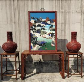 海外回流:清造办处特色 大漆剔红山水人物百宝嵌挂屏